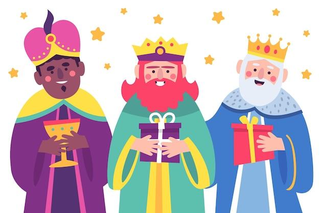 Reyes Magos Dessinés à La Main Vecteur gratuit