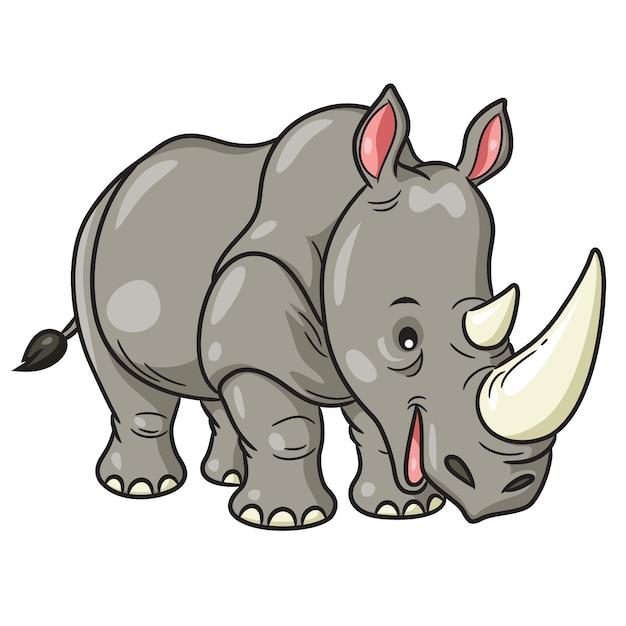 Rhino cute cartoon Vecteur Premium