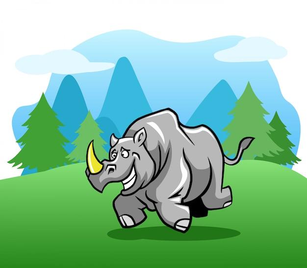 Rhinocéros heureux en cours d'exécution à l'extérieur. Vecteur Premium