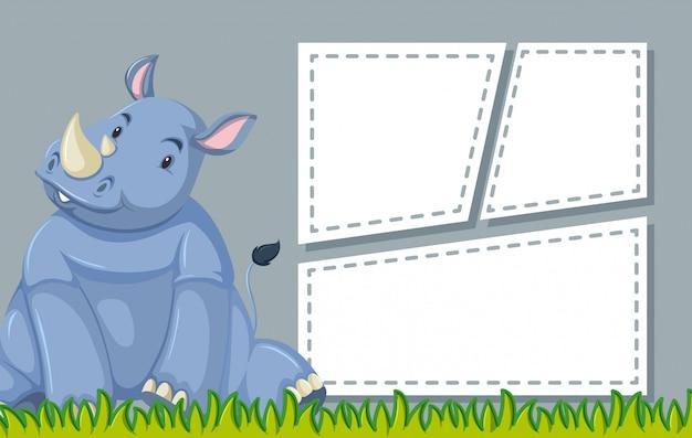 Rhinocéros sur modèle de note Vecteur gratuit
