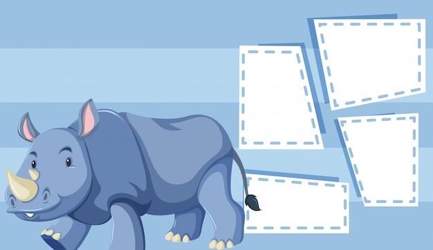 Un Rhinocéros Sur Un Modèle Vierge Vecteur gratuit