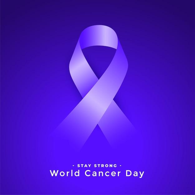 Ribbconcept De Sensibilisation à La Journée Mondiale Du Cancer Pourpre Vecteur gratuit