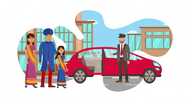 Riche famille indienne en attente de l'illustration de la voiture Vecteur Premium
