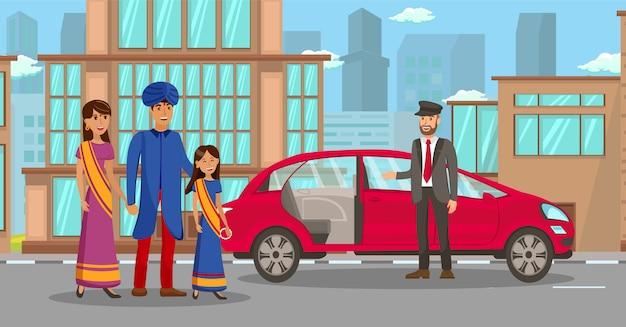 Riche famille indienne en attente de voiture illustration Vecteur Premium