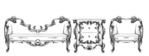 Riche fauteuil baroque Vecteur Premium
