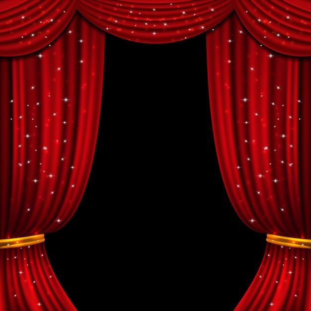 Rideau ouvert rouge avec des lumières scintillantes. contexte Vecteur Premium