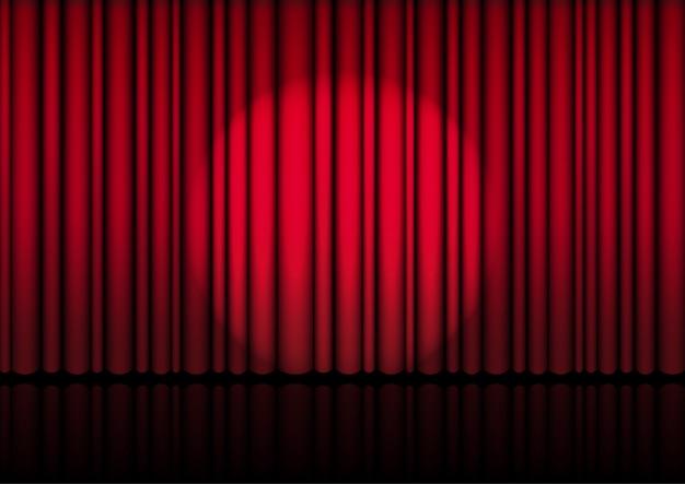 Rideau rouge ouvert réaliste sur scène ou au cinéma Vecteur Premium