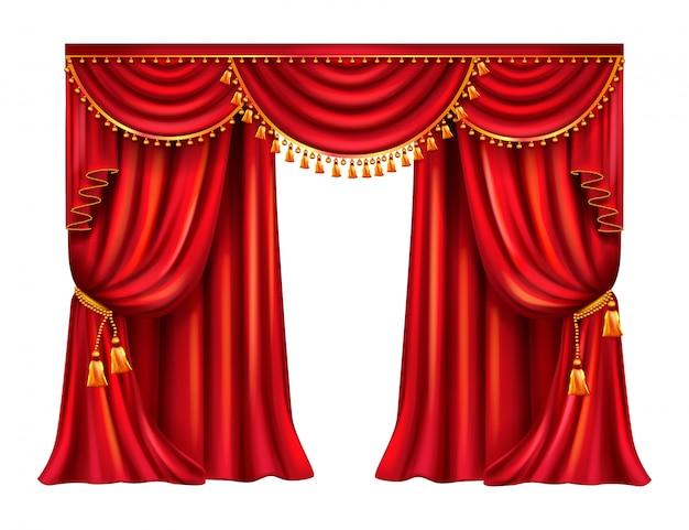 Rideau rouge ridée avec des glands dorés à décor de lambrequin Vecteur gratuit
