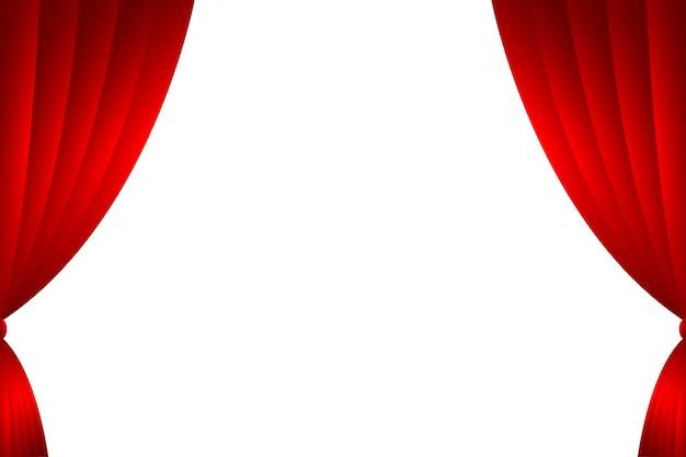 Rideau rouge en toile de fond isolé Vecteur Premium