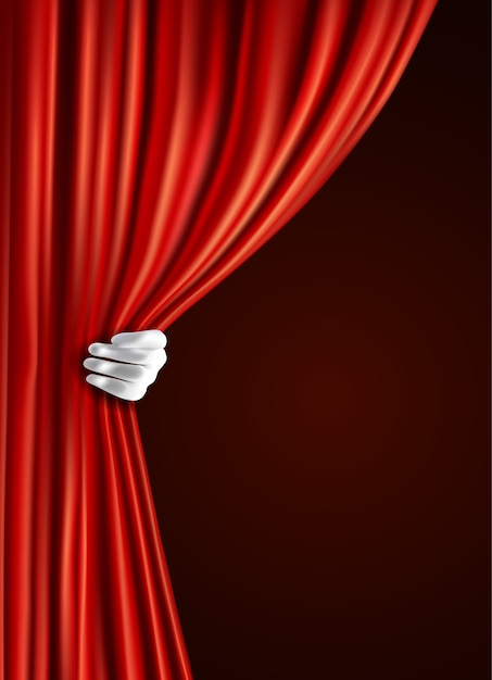 Rideau de théâtre avec la main Vecteur gratuit