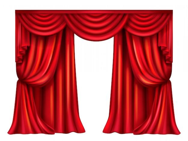 Rideau de théâtre en soie, velours avec plis isolé sur fond blanc. Vecteur gratuit