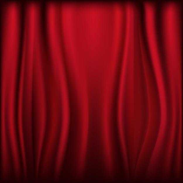 Rideau En Velours De Théâtre Avec Lumières Et Ombres, Vecteur Premium