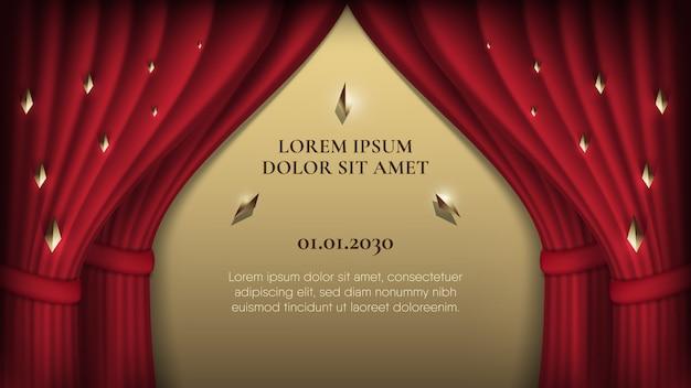 Rideaux Abstraits Deux Couches Rouges Sur Fond D'or Pour Annonce Vecteur Premium