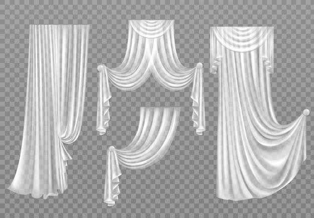 Rideaux blancs isolés sur transparent Vecteur gratuit