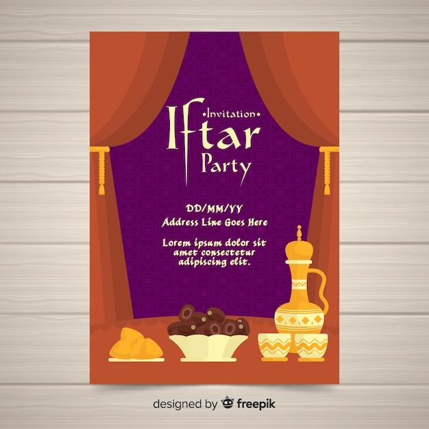 Rideaux d'invitation à la fête de l'iftar plat Vecteur gratuit