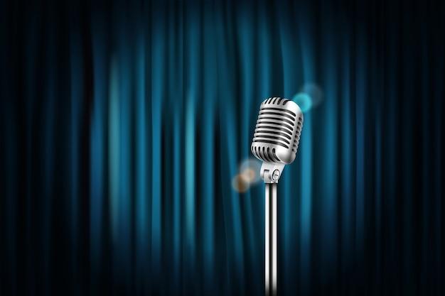 Rideaux de scène avec microphone brillant Vecteur Premium