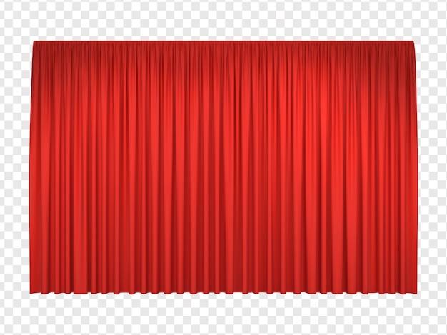 Rideaux de scène rouges réalistes Vecteur Premium