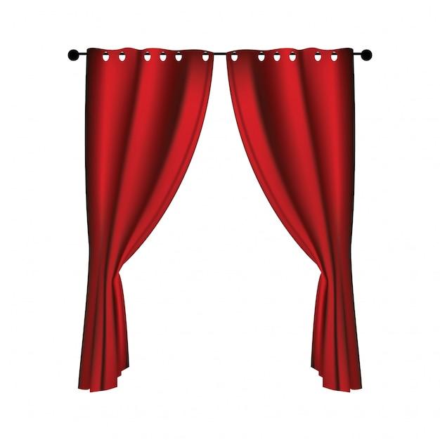 Rideaux De Velours Rouge Luxueux Réalistes Vecteur Premium