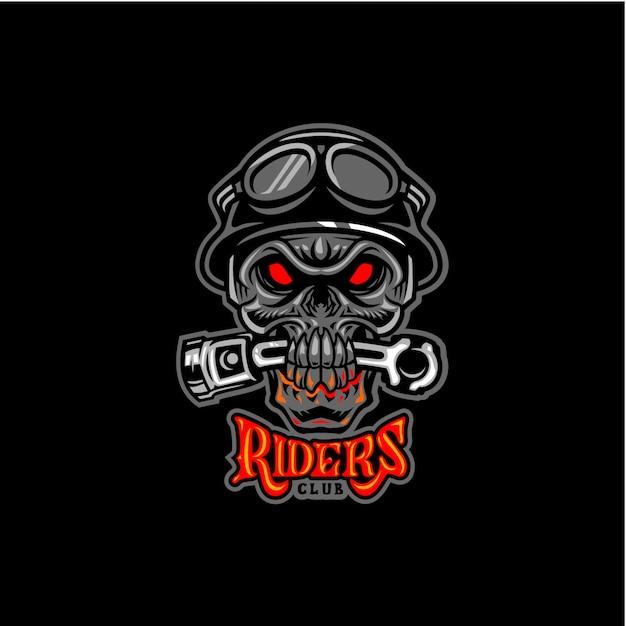 Riders club skull beat piston Vecteur Premium