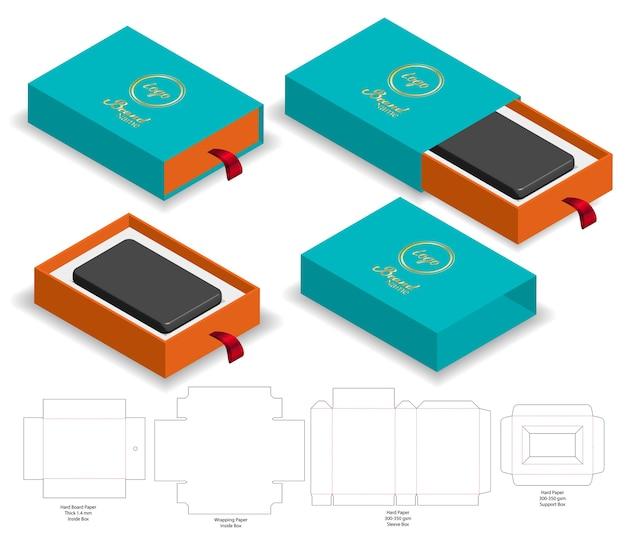 Rigid sleeve box die coupé maquette vecteur Vecteur Premium