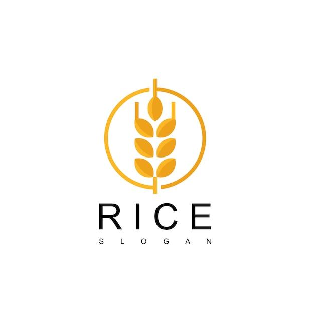 Riz Logo Design Vecteur Vecteur Premium