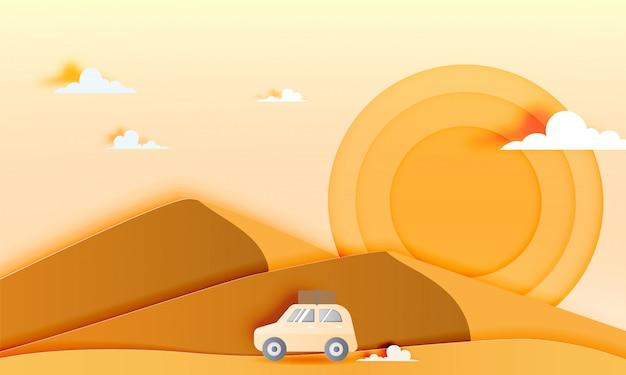 Road Trip Dans Le Désert Avec Illustration Vectorielle De Papier Art Style Vecteur Premium