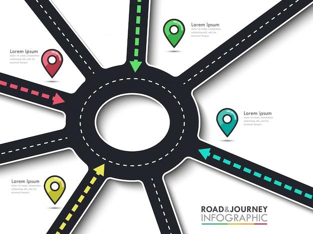 Road trip, parcours et route du succès. affaires et voyage infographie avec pointeur épingle. carrefour des flèches rondes Vecteur Premium