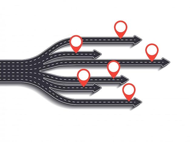 Road trip, parcours et route du succès. affaires et voyage infographie avec pointeur épingle. routes sinueuses sur fond blanc Vecteur Premium