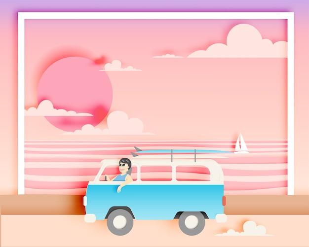 Road trip sur la plage avec illustration vectorielle de style art papier et schéma de couleurs pastel Vecteur Premium