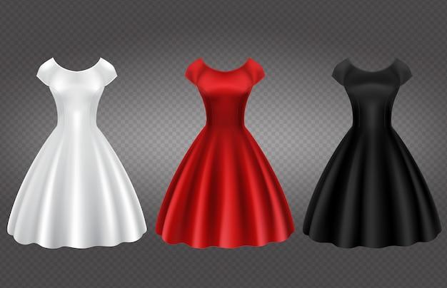 Robe De Cocktail Femme Retro Blanche Noire Et Rouge Vecteur Gratuite