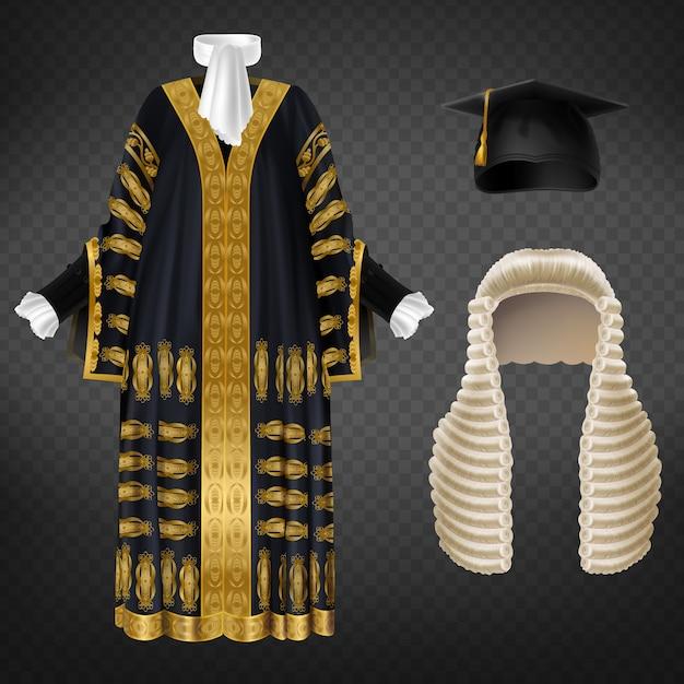 Robe Noire Avec Broderie Décorative Dorée, Longue Perruque Avec Boucles Et Bonnet De Mortier Vecteur gratuit