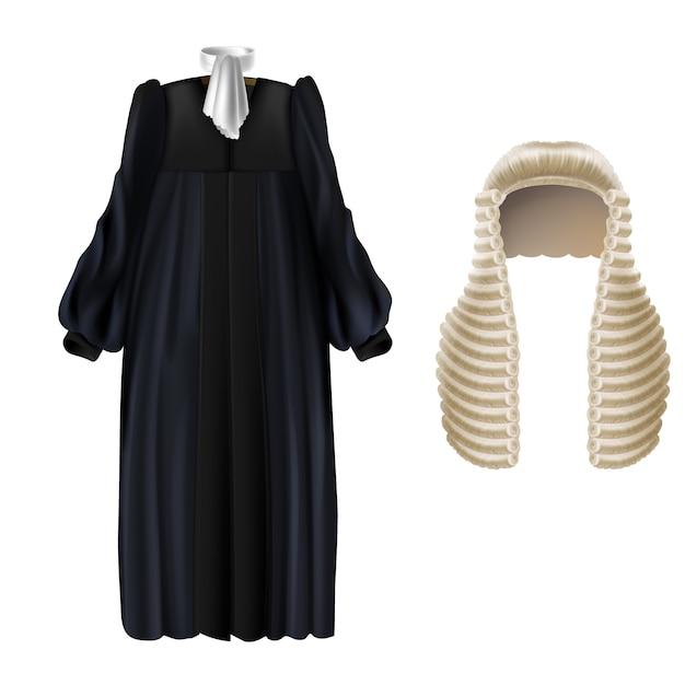 Robe De Soirée Noire Réaliste Avec Manches, Col Aile Blanc, Longue Perruque à Boucles Vecteur gratuit