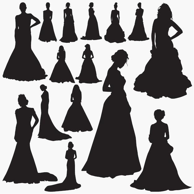 Robes de mariée silhouettes Vecteur Premium