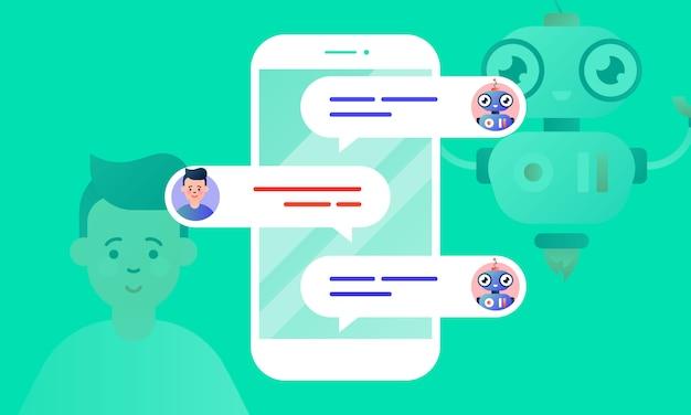 Robo advisor aide son client en discutant avec lui via le smartphone Vecteur Premium