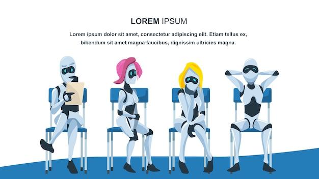Robot assis sur une chaise en attente d'un entretien d'embauche Vecteur Premium