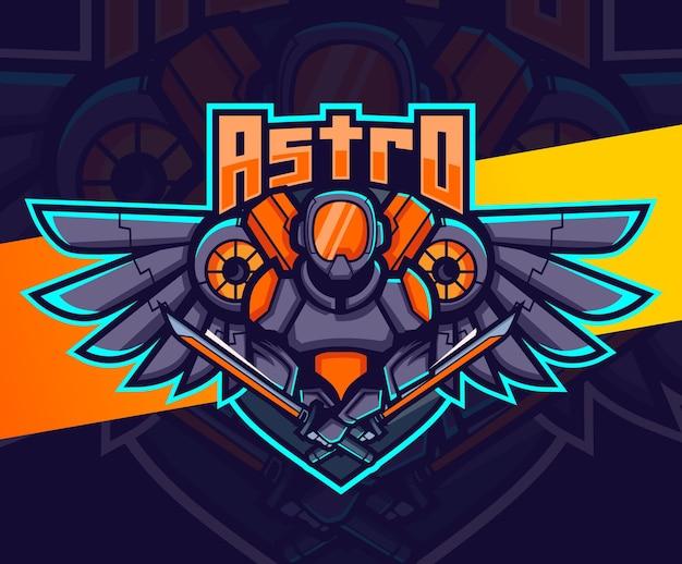 Robot Astronaute Avec Création De Logo Esport Mascotte Ailes Vecteur Premium