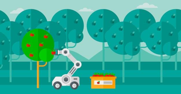 Robot cueillant des pommes au moment de la récolte. Vecteur Premium