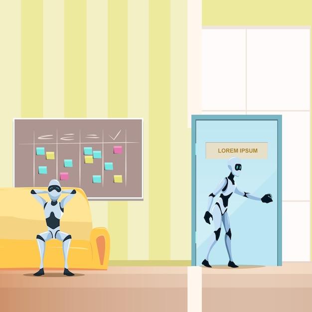 Robot détendu sur un canapé, un robot mâle entre dans la porte Vecteur Premium