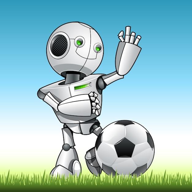 Robot enfant drôle jouer au football Vecteur Premium