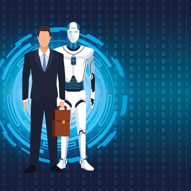 Robot humanoïde et homme d'affaires Vecteur Premium