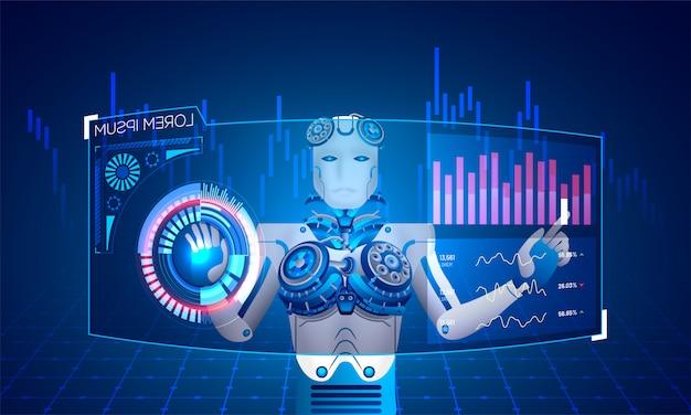 Robot humanoïde. Vecteur Premium
