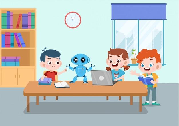 Robot de jeu d'enfant Vecteur Premium