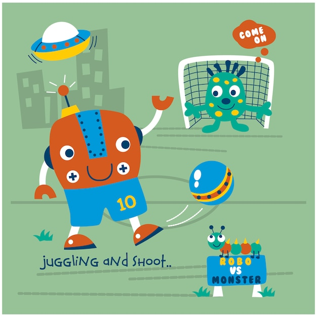 Robot jouant au dessin animé drôle de football Vecteur Premium