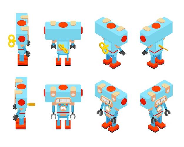 Robot jouet bleu isométrique Vecteur Premium