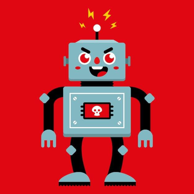 Un robot maléfique qui s'est cassé. mauvais comportement. illustration vectorielle de caractère plat. Vecteur Premium