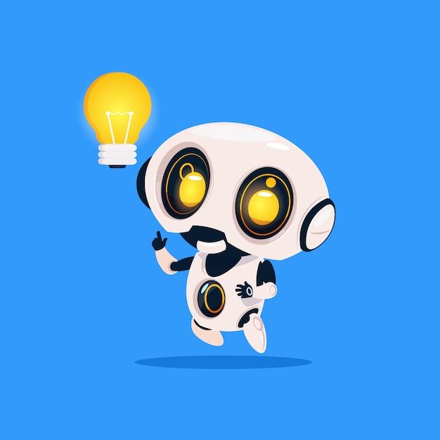 Robot mignon tenir ampoule icône isolé sur fond bleu intelligence artificielle de technologie moderne Vecteur Premium
