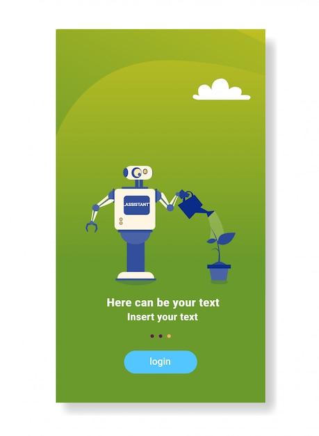 Robot moderne arrosage plante maison aide bot futuriste intelligence artificielle mécanisme technologie ménage Vecteur Premium