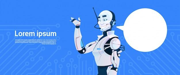 Robot moderne avec bulle de conversation, technologie futuriste de mécanisme d'intelligence artificielle Vecteur Premium
