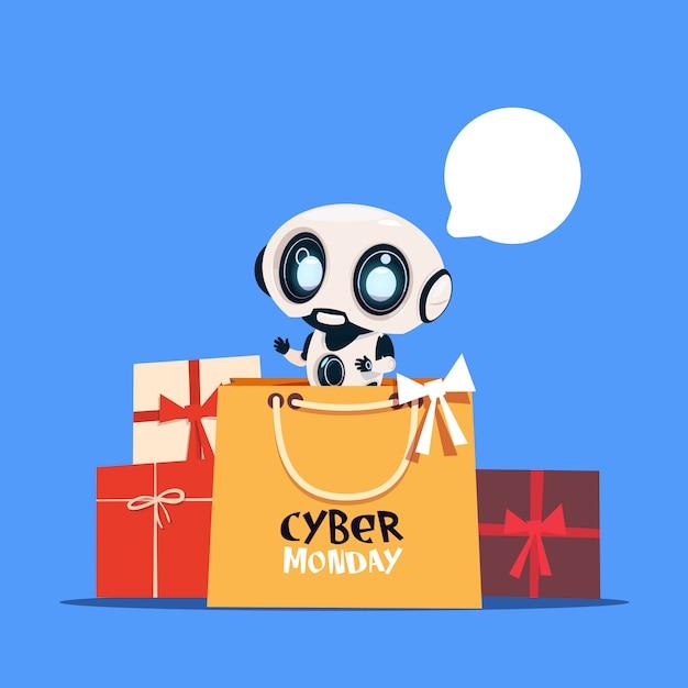 Robot moderne tenant son sac avec le texte du lundi cyber en ligne Vecteur Premium