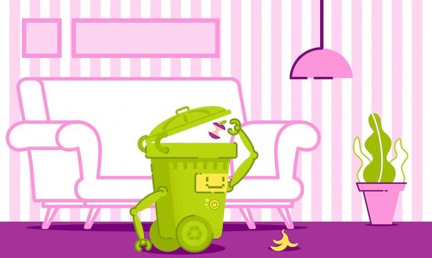 Robot Nettoie Les Ordures Dans La Maison Vector Illustration Vecteur Premium